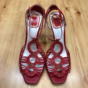 Christian Dior Red Leather High Heel Sandals 41